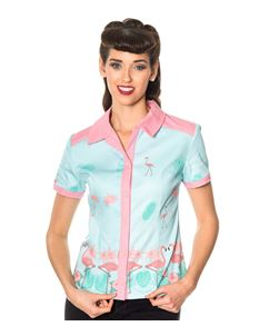 Going My Way Dancing Days Blue Pink Flamingo Shirt
