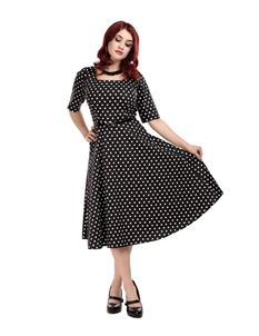 Collectif 50s 60s Amber Black White Polka Dot Dress