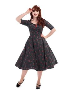 Collectif 50s Dolores Cherry Polka Dot Black Doll Dress