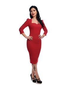 Collectif Mainline Vanessa Red Wiggle Pencil Dress