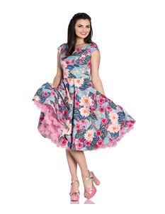 Hell Bunny Lotus Floral 50s Style Summer Dress