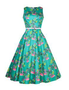 Lady Vintage 50s Style Hepburn Summer Flamingo Dress