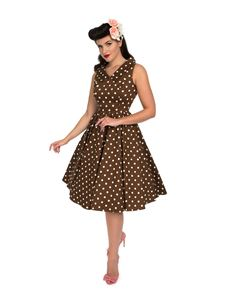 H&R London Ravishing Chocolate Polka Dot Swing Dress