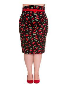 Hell Bunny Cherry Pop Pencil Skirt With Red Belt