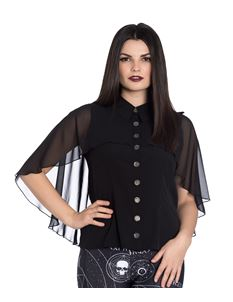 Hell Bunny Draco Alternative Chiffon Cape Blouse
