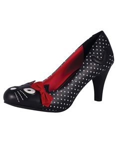 T.U.K. TUK Kitty Polka Dot Shoes Black & White