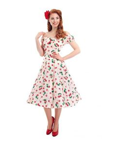Collectif - Dolores Doll Dress Cherry Print UK 10