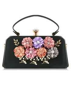 Love Me Floral Cross Body Bag In Black