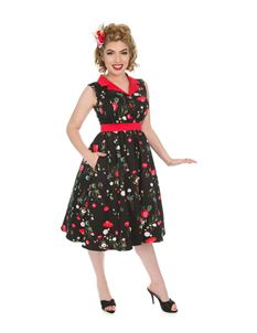 Hearts & Roses 50s Black Multi-floral Poppy Dress