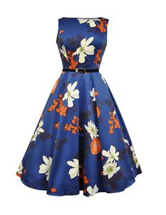 Lady Vintage 50's Japanese Floral Dress Navy Blue