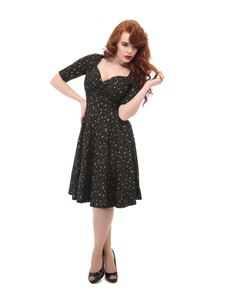 Collectif 40s 50s Style Trixie Black and Gold Atomic Star Doll Dress