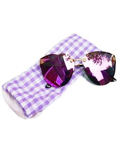 Guns N Posies Purple Mirrored Cat Eye Frame Sunglasses
