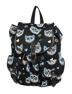 Banned Blue Sugar Candy Kitty Cat Canvas Backpack