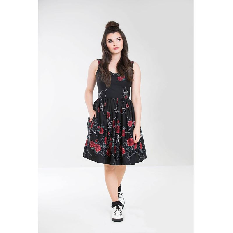 Hell Bunny Sabrina Spider Web Red Rose Short 50s Dress