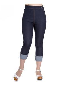 Hell Bunny 50s Rockabilly Style Ronnie Navy Blue Denim Capris Jeans