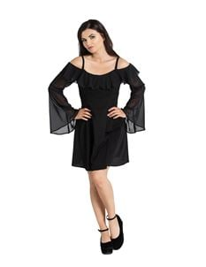 Hell Bunny Evanora Alternative Chiffon Black Mini Dress