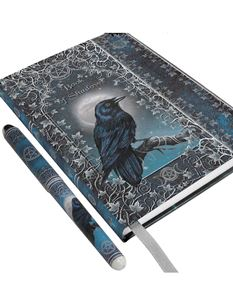 Embossed Book of Shadows Raven A5 Journal with Pen