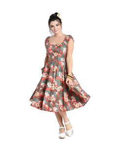 Hell Bunny Ukulele Tropical Floral Orange 50s Dress