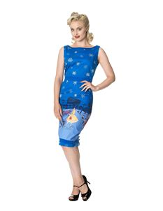 Dancing Days Romance Lives 50s Paris Snowflake Xmas Pencil Dress