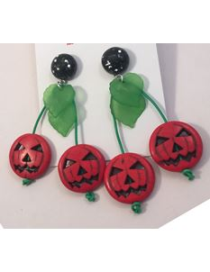 1950s Pumpkin Halloween Earrings Midcentury Missy