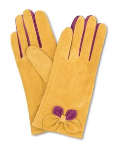 Powder Antoinette Suede Vinatge Style Gloves In Mustard