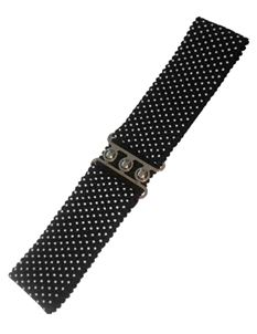 Dancing Days 50s Elasticated Stretch Black Polka Belt