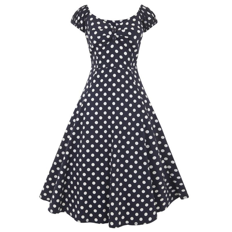 Collectif Dolores 50s Style Navy Blue and White Polka Dot Doll Dress