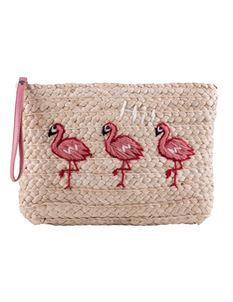 Collectif Ana 50s Flamingo Straw Clutch Bag