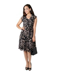 Collectif 40s Violet Black Pansy Floral Dress