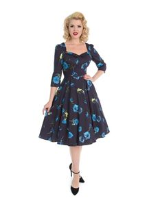 H&R London 50s Blue Floral Melody Dress