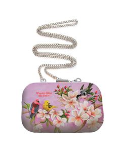 Woody Ellen Bloom Floral Bird Art Box Purse Clutch Bag