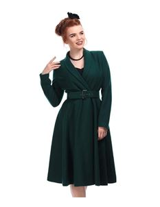 Collectif 40s 50s Style Green Dawn Swing Coat