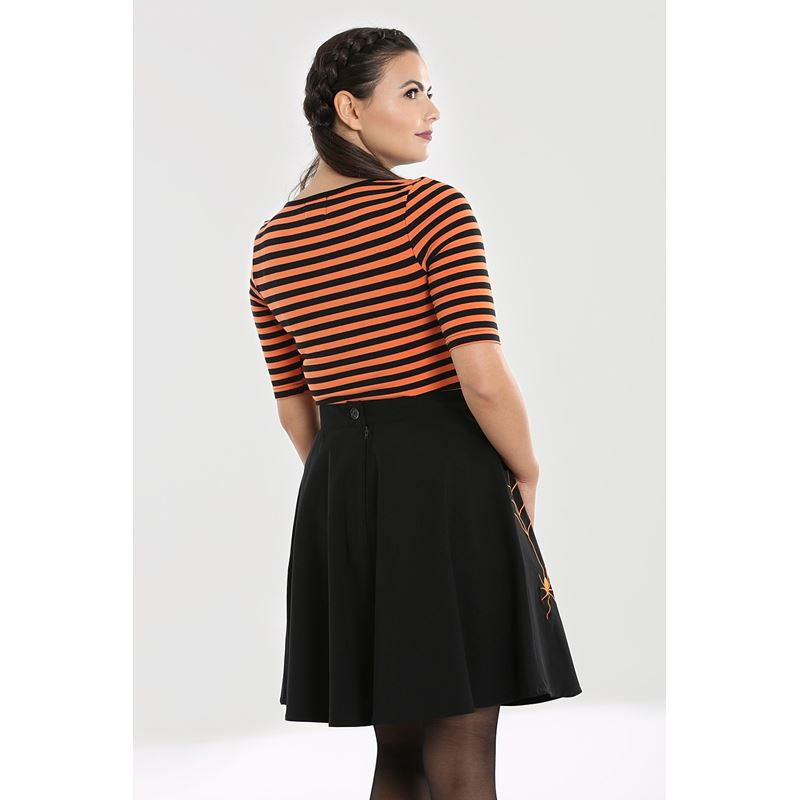 Hell Bunny Warlock Striped Halloween Stretch Top