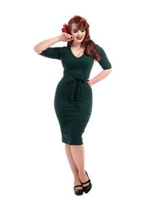 Collectif 50s Meadow Teal Green Office Pencil Dress