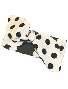 Gas Axe Inc Polka Dot Rockabilly Black and White Head Scarf Tie