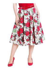 Hell Bunny Jennie Winter Floral Xmas 50s Circular Skirt