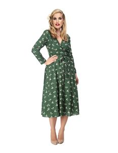 Collectif WW11 Style Willa Green Floral Wrap Dress