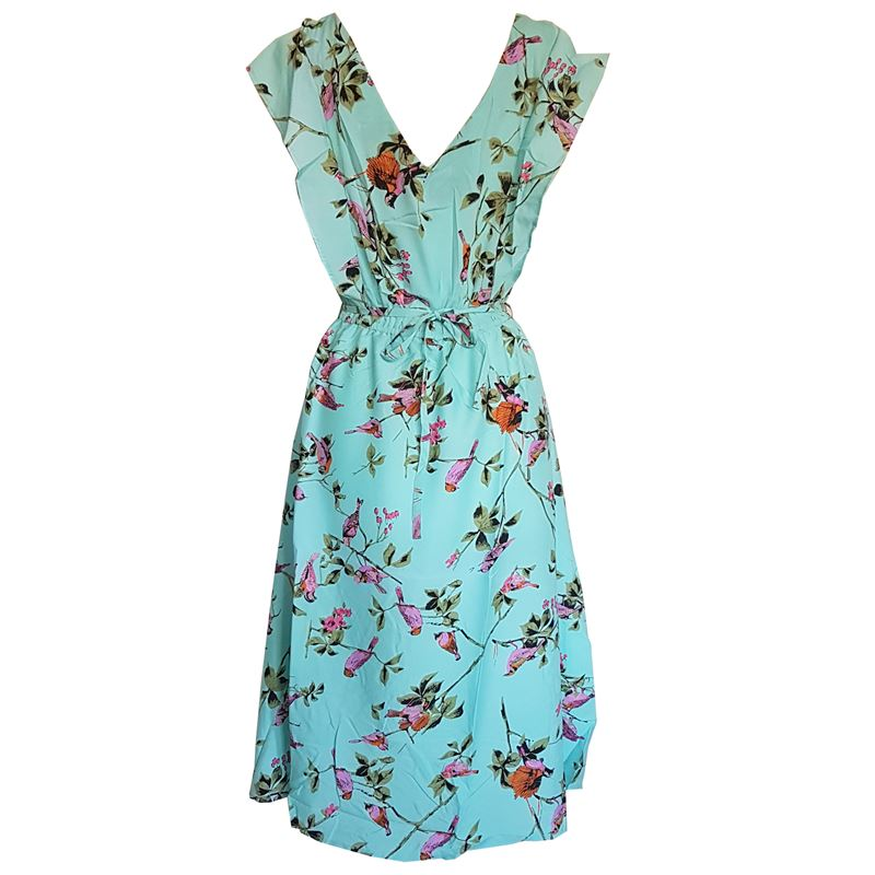 Summer Beach Floral Cotton Blue Long Maxi Dress