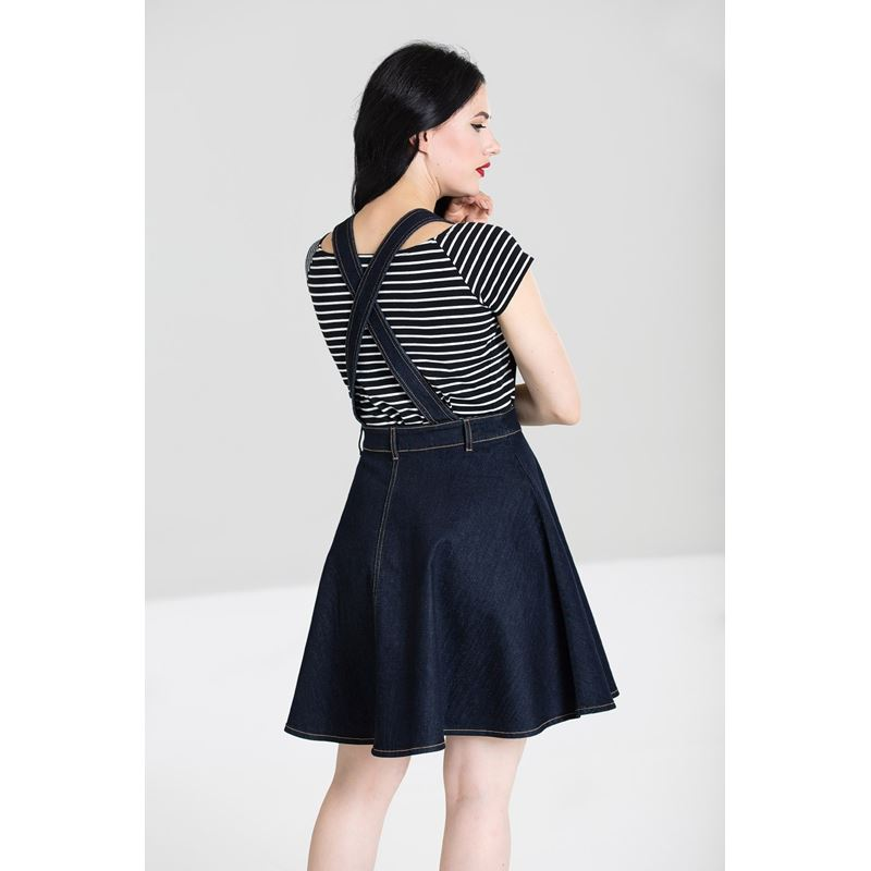 Hell Bunny Dakota Denim Navy Blue Pinafore Mini Dress