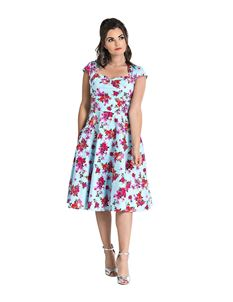 Hell Bunny Noemie 50s Blue Floral Swing Dress