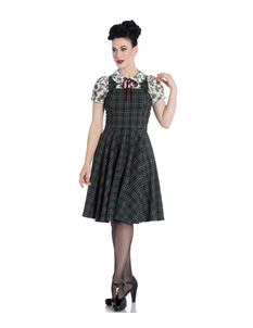 Hell Bunny Pebbles Vintage Green Tartan Pinafore Dress