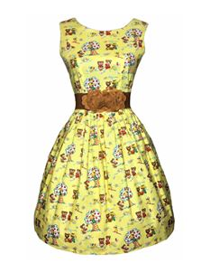 Silly Old Sea Dog 1950s Yellow Bears Dress
