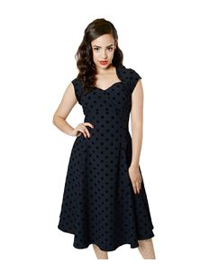 Collectif 50's Regina Doll Polka Dot Flock Dress Navy