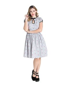 Hell Bunny Hopper Bunny Heart Gingham Mid Short Dress