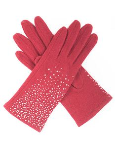 Powder Daphne Wool Gloves In Berry Red & Sparkles