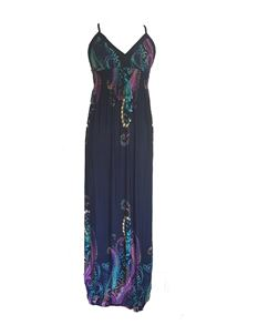 Summer Beach Floral Paisley Maxi Full Length Dress