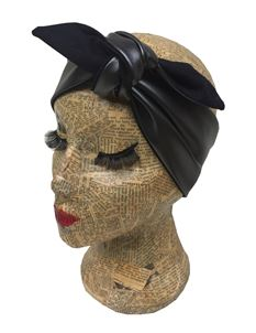 Sam Mercer Black Faux Leather Headscarf Pinup