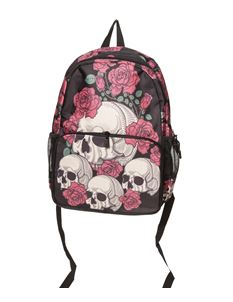 Banned Taryn Skull Rose Alternative Rucksack Backpack