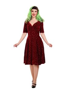 Collectif 40s 50s Trixie Wine Silver Sparkle Doll Dress