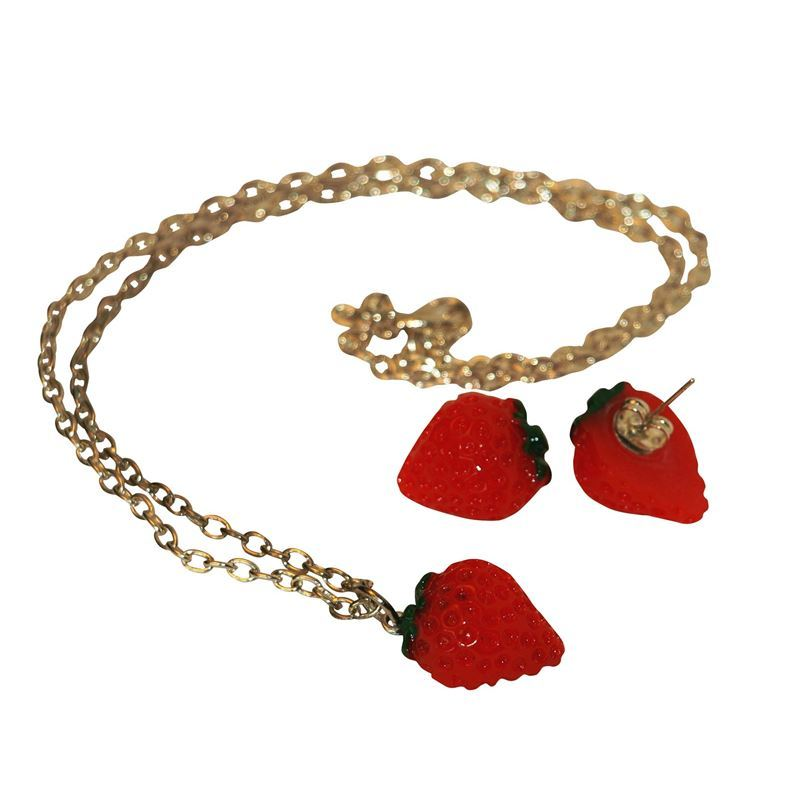 Gas Axe Inc Cherry Necklace and Earring Set RIXE6Q
